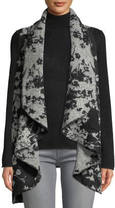 Neiman Marcus Draped Open-Front Boucle Sweater Vest
