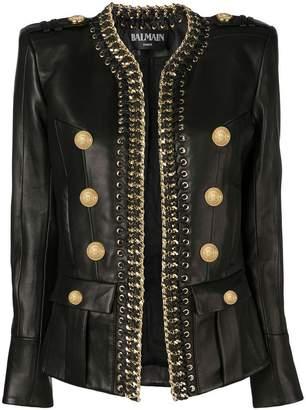 Balmain chain trim leather jacket