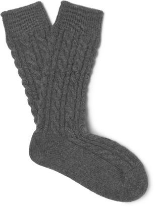 Kingsman + Corgi Cable-Knit Cashmere Socks $200 thestylecure.com