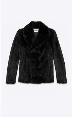 Saint Laurent Fake Fur Pea Coat