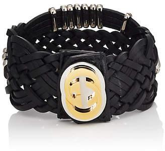 Gucci Men's Braided Leather Bracelet - Black