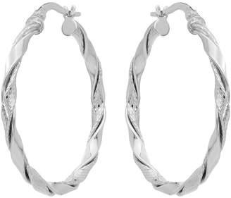 14K Polished & Textured Twisted Hoop Earrings