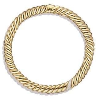 David Yurman Hampton Cable Necklace With Diamonds In 18K Gold
