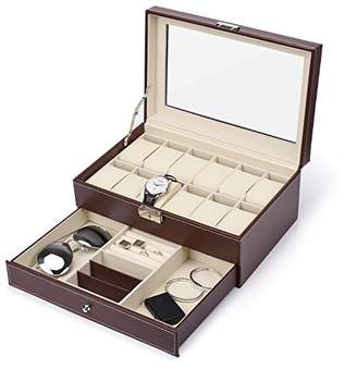 Juns 12 Slots Watch Box Mens Watch Organizer PU Leather Case with Jewelry Drawer for Storage and Display