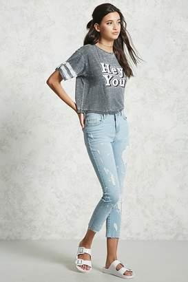 Forever 21 Paint Splatter Distressed Jeans