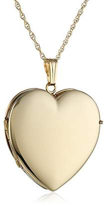 14k Gold Polished Heart 4-Picture Locket Necklace