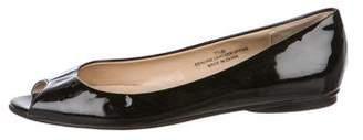 Carlos Falchi Patent Leather Peep-Toe Flats