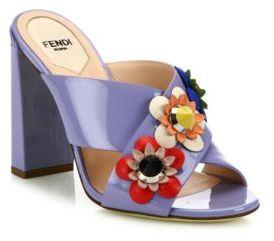 Fendi Flowerland Embellished Patent Leather Mules