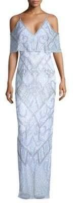 Aidan Mattox Beaded Cold-Shoulder Gown