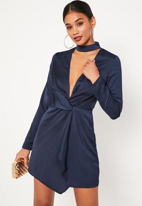Missguided Navy Blue Satin Wrap Choker Shift Dress, Blue