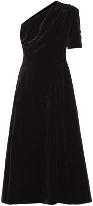 Emilia Wickstead Jenna one-shoulder velvet midi dress