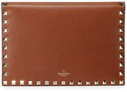 Valentino Rockstud Medium Flat Folded Leather Clutch Bag
