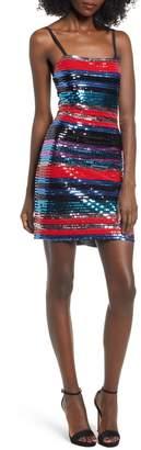 WAYF Manfi Lace-Up Back Sequin Stripe Minidress