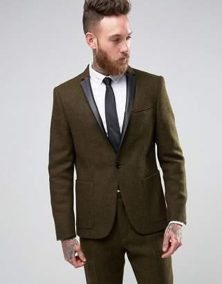 Asos Design Slim Blazer In Khaki Harris Tweed 100% Wool with Real Leather Lapel