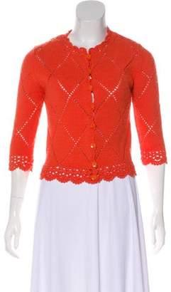 Anna Sui Crochet Trim Wool Cardigan