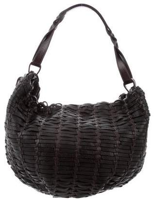 Agnona Woven Leather Hobo Bag