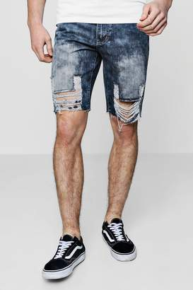 boohoo Heavily Distressed Hem Bermuda Denim Shorts