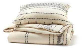 Coyuchi Organic Cotton Ivory Rippled Stripe Standard Sham