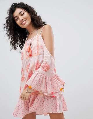 South Beach Beach Dress With Fluted Sleeve