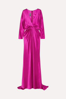 Monique Lhuillier Wrap-effect Draped Silk-satin Gown - Fuchsia