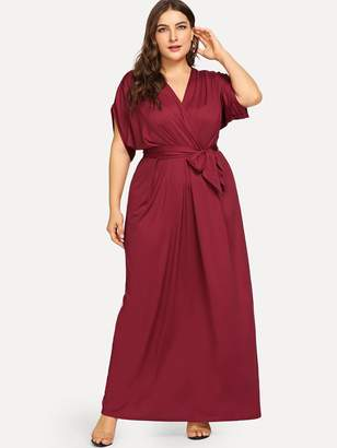 Shein Plus Self Tie Solid Dress