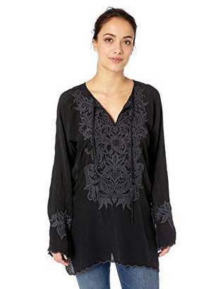 Johnny Was Women's 3/4 Sleeve Keyhold Embroidered Tunic