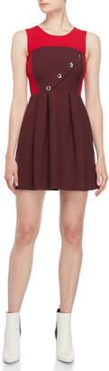 Atos Lombardini Asymmetrical Placket Fit & Flare Dress