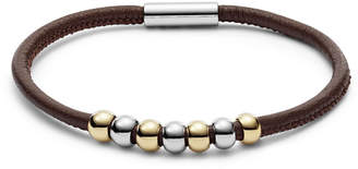 Fossil Beaded Brown Leather Bracelet