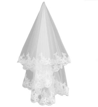 Heartfly Women's Fingertip Wedding Veil For Bride Lace Applique Wedding Accessories