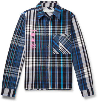 Off-White Off White Printed Checked Cotton-Blend Flannel Shirt - Men - Blue