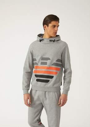 Emporio Armani Sweatshirt With Hood And Three-Colour Eagle Print