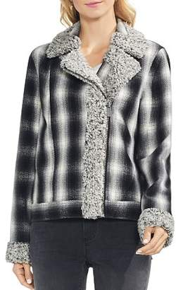 Vince Camuto Sherpa-Trimmed Plaid Moto Jacket