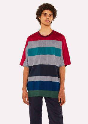 Paul Smith Men's Striped Herringbone T-Shirt With 'Dreamer' Collar