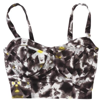 Mossimo Women's Crop Tank Top -Black/White Print