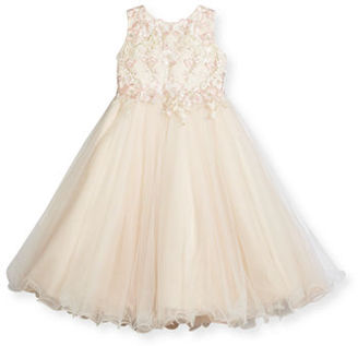 Joan Calabrese Sleeveless Floral Satin & Tulle Special Occasion Dress, Size 3-14 $230 thestylecure.com