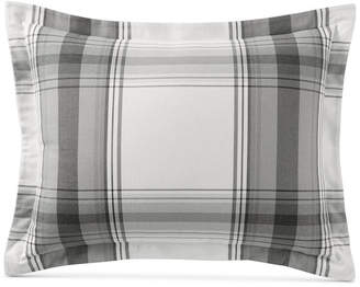 Martha Stewart Collection Closeout! Collection Grayscale Plaid Cotton Flannel Standard Sham