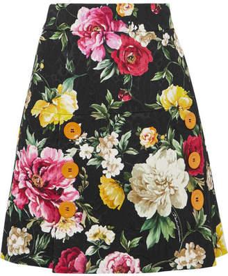 Dolce & Gabbana Button-detailed Floral-jacquard Mini Skirt - Black