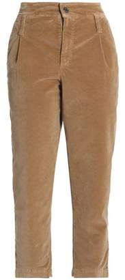 Brunello Cucinelli Cropped Cotton-Blend Velvet Straight-Leg Pants