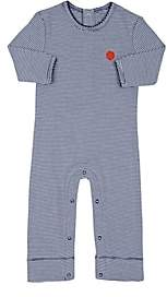Lisa Perry Infants' Dot-Embroidered Striped Cotton Coverall - Blue