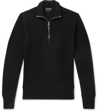 Tom Ford Ribbed Wool and Cashmere-Blend Half-Zip Sweater - Men - Black