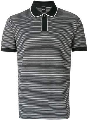 HUGO BOSS contrast trim striped polo shirt