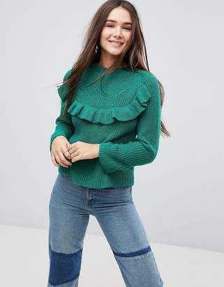 Only Ruffle Sweater With Fluted Sleeves