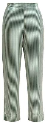 Asceno - Striped Sandwashed Silk Pyjama Trousers - Womens - Green Stripe