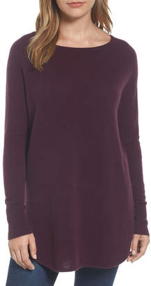 Halogen Shirttail Wool & Cashmere Boatneck Tunic (Petite)