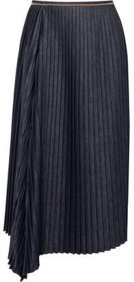 Brunello Cucinelli Embellished Pleated Denim Midi Skirt - Navy