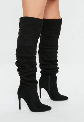 Missguided Black Ruched Over The Knee Pointed Heeled Boots