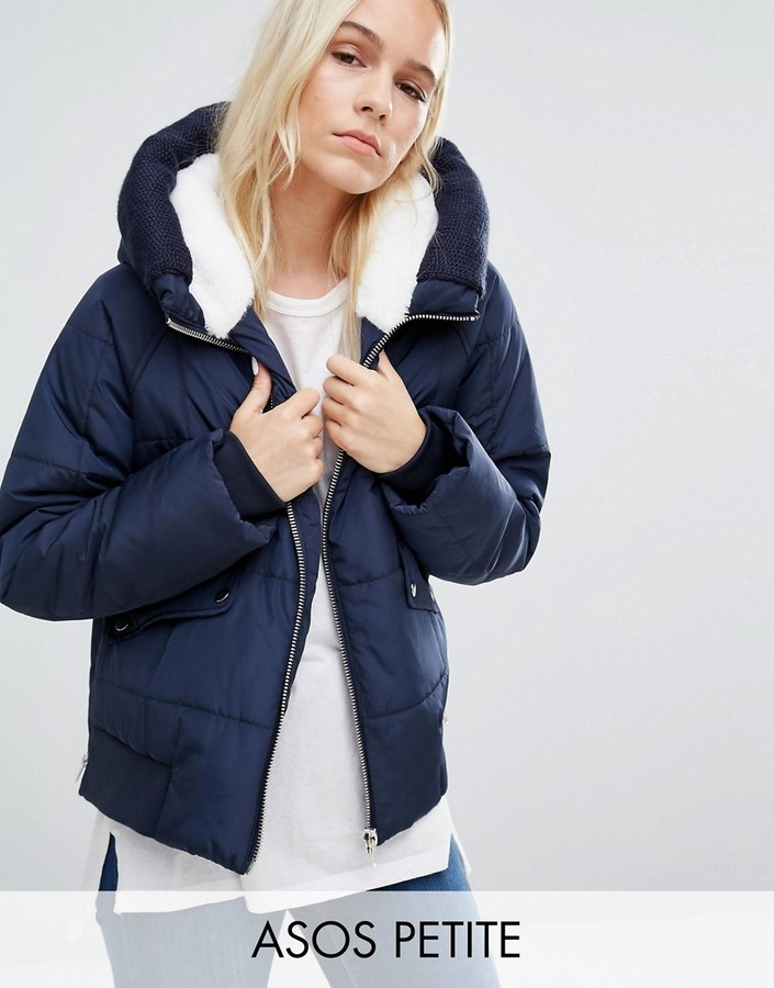 ASOS Petite ASOS PETITE Puffer Jacket with Faux Fur Hood and Knitted Trim