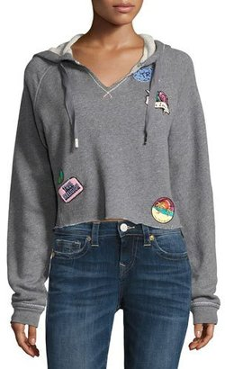 True Religion Pullover Hoodie with Patch Appliqués, Heather Gray $149 thestylecure.com