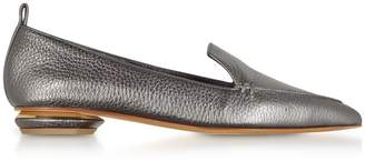 Nicholas Kirkwood Beya Metallic Pewter Tumbled Leather Loafers
