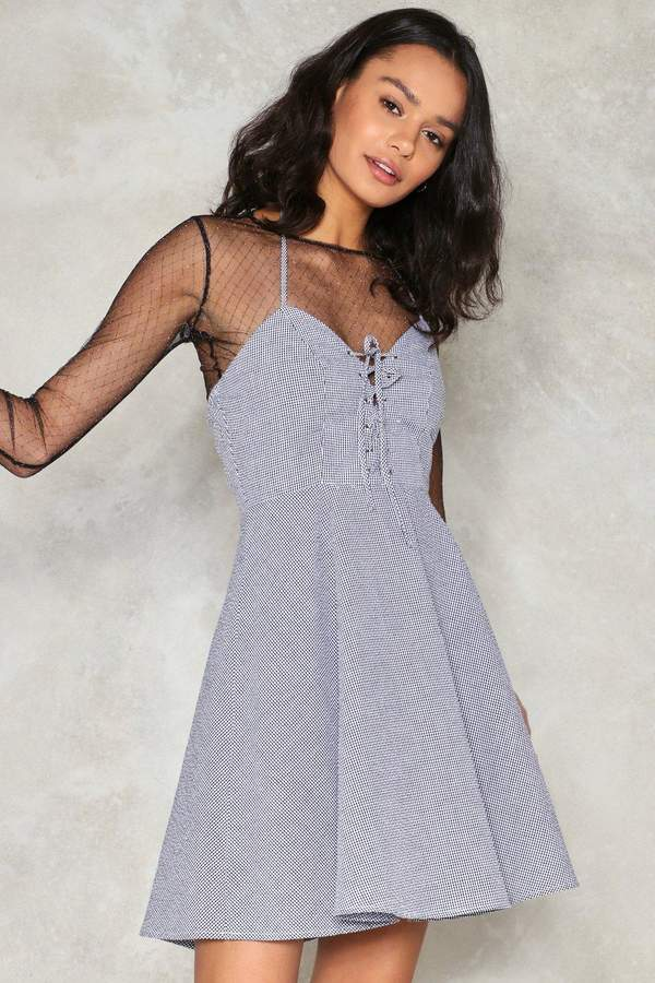 nastygal Going Gingham Fit & Flare Dress